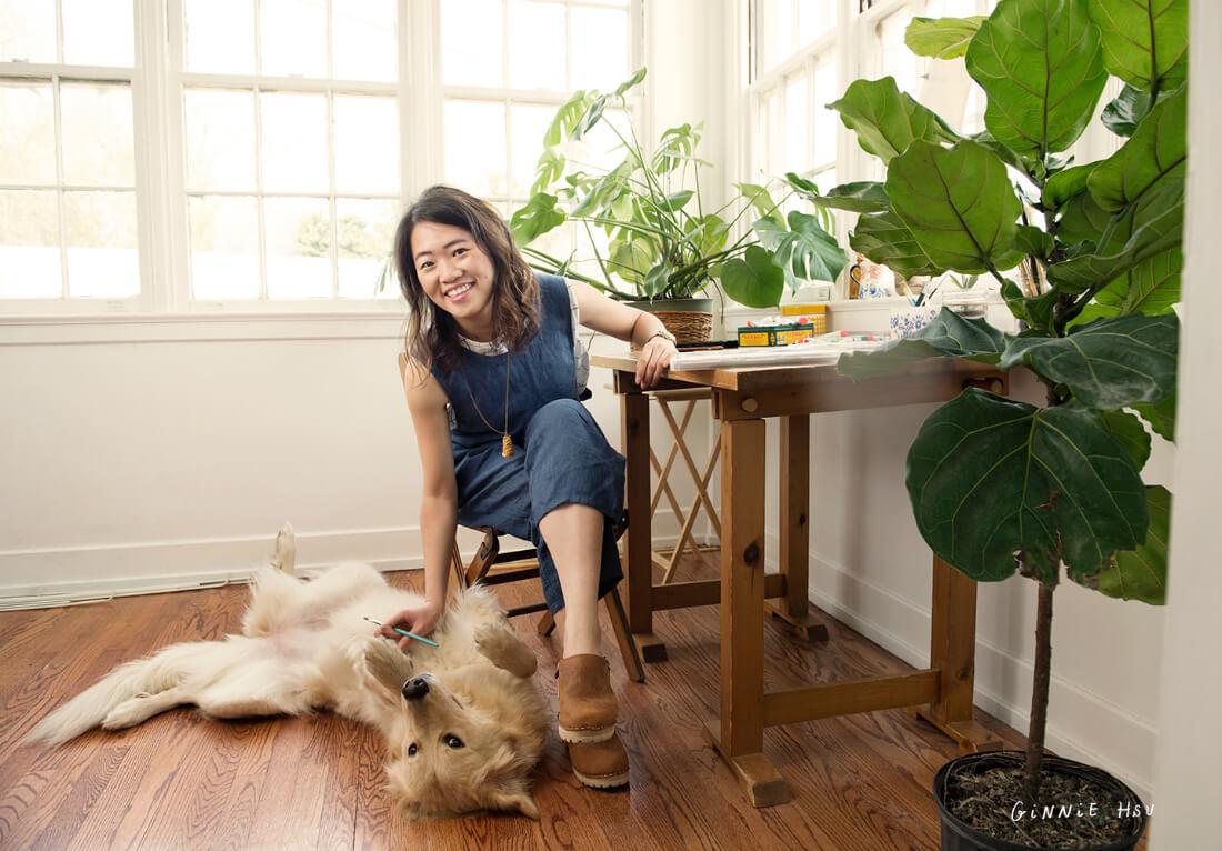 Artist Ginnie Hsu With Her Dog Luna