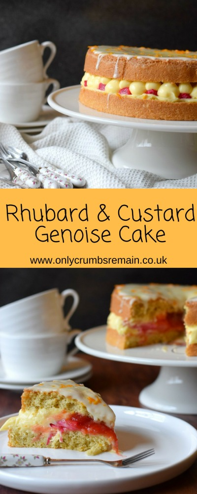 Rhubarb and Custard Genoise Sponge Cake Recipe, made with forced rhubarb and a little orange