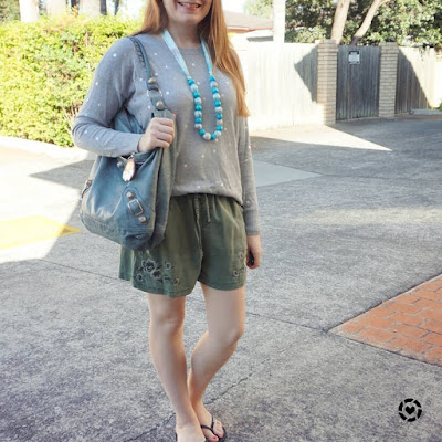 awayfromblue instagram   Jeanswest Kara foil pullover in smoke marl and silver with olive embroidered shorts