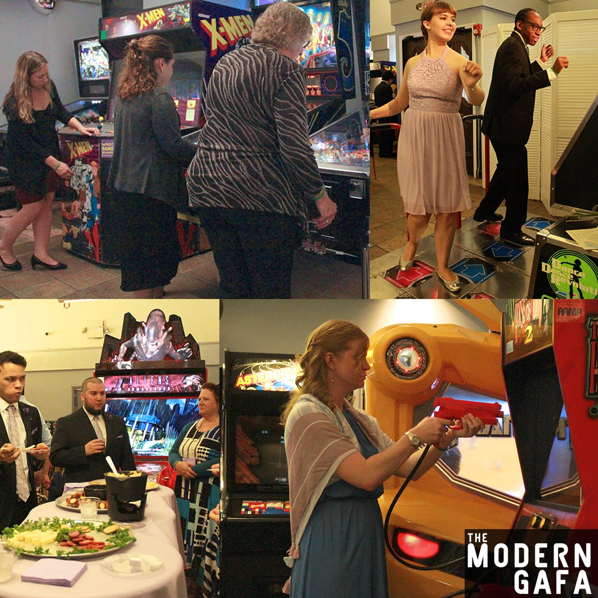 how to have a geeky wedding at an arcade with video game music