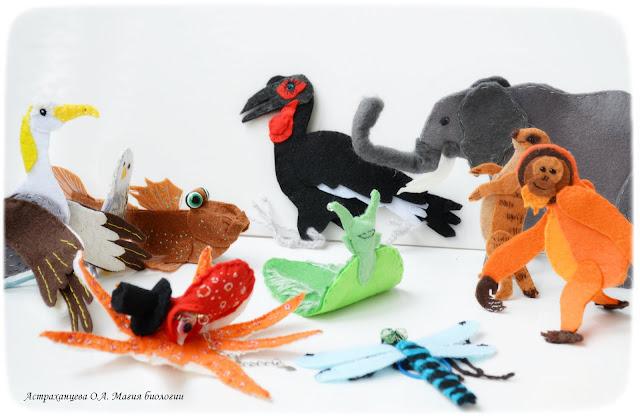 palchikovyj-teatr-orangutan-surikat-strekoza-podsolnuh-sova-osminog-jelizija-kafrskij-voron-slon-albatros-ilistyj-prygun