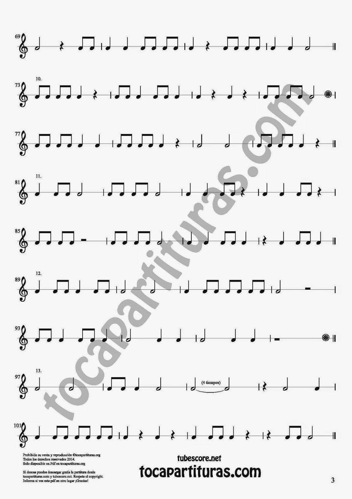 3 Parte 35 Ejercicios Rítmicos para Aprender Solfeo Negras, corcheas, blancas y sus Silencios Compás 4x4 cuatro tiempos Sheet Music for quarter notes, half notes, 1/8 notes and silences
