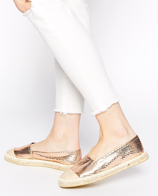 Without espadrille summer is never complete. Lipsy Lana Bronze Snake Effect Espadrille Flat Shoes