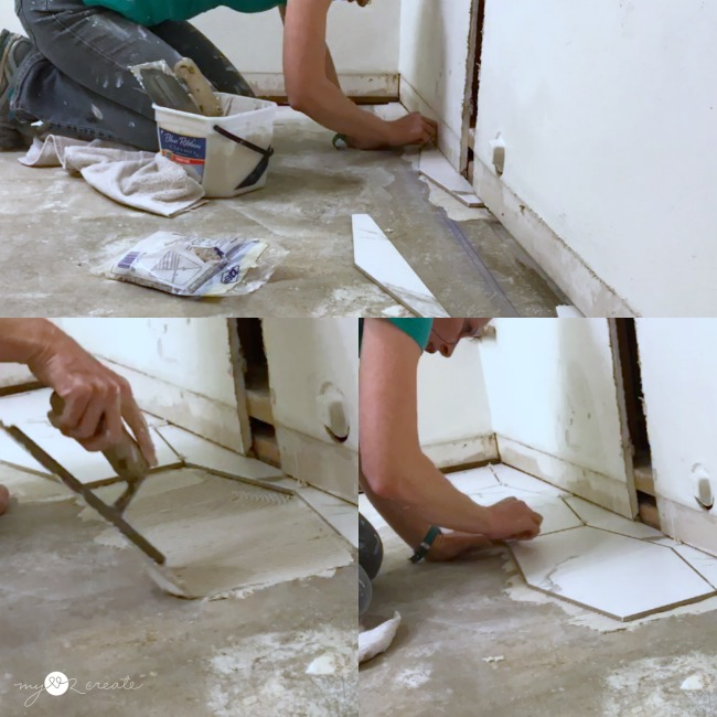 use a chalk line to keep your first row of floor tile straight and level