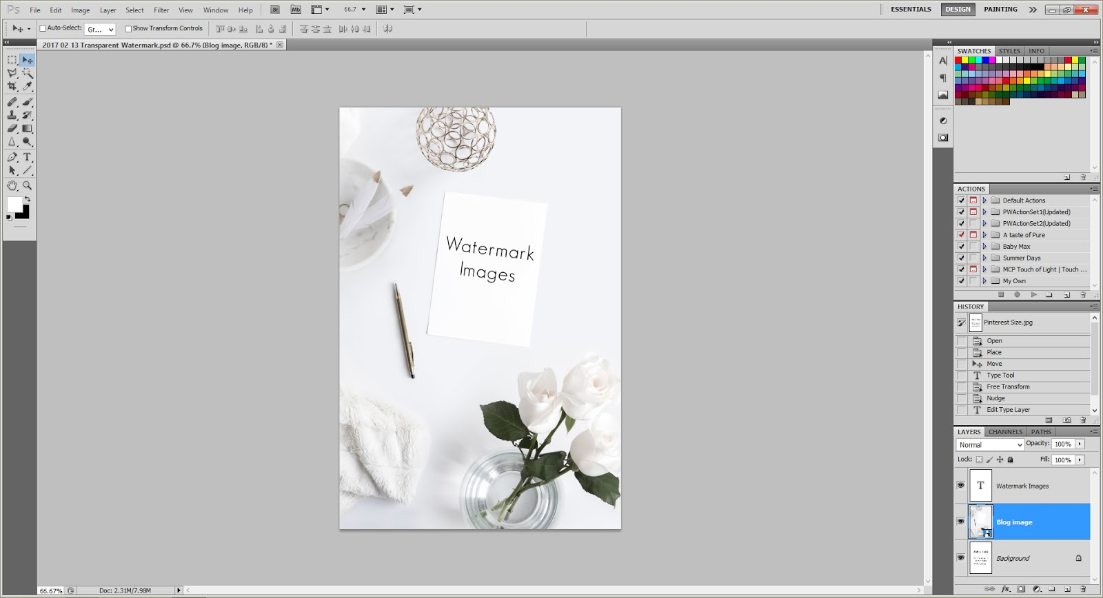how to make text follow image in photoshop