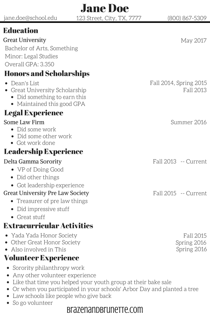 law school sample resume brazenandbrunettecom - Law School Resume