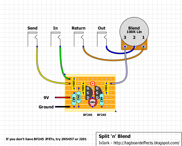 guitar fx layouts: split 'n' blend blues driver guitar pedal wiring diagrams guitar effects wiring diagrams #10