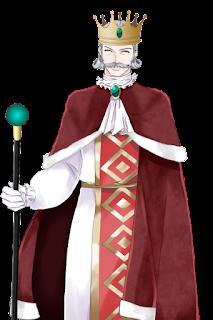 笑顔の赤い服を着た王の立ち絵フリー素材