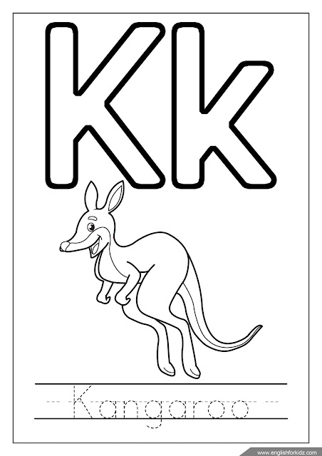 Alphabet coloring page, missive of the alphabet k coloring, k is for kangaroo