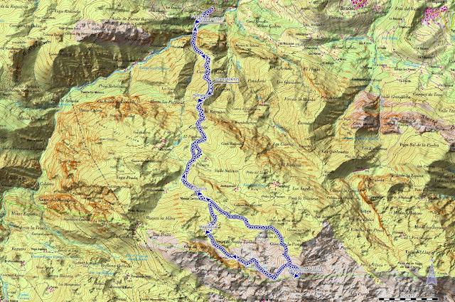 Mapa de la Ruta al Cabezo Llerosos desde La Molina