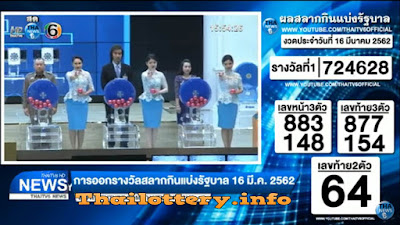 Thailand Lottery Result 16 March 2019 Live Streaming Online