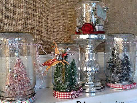 Mason Jar Christmas Snow Globes