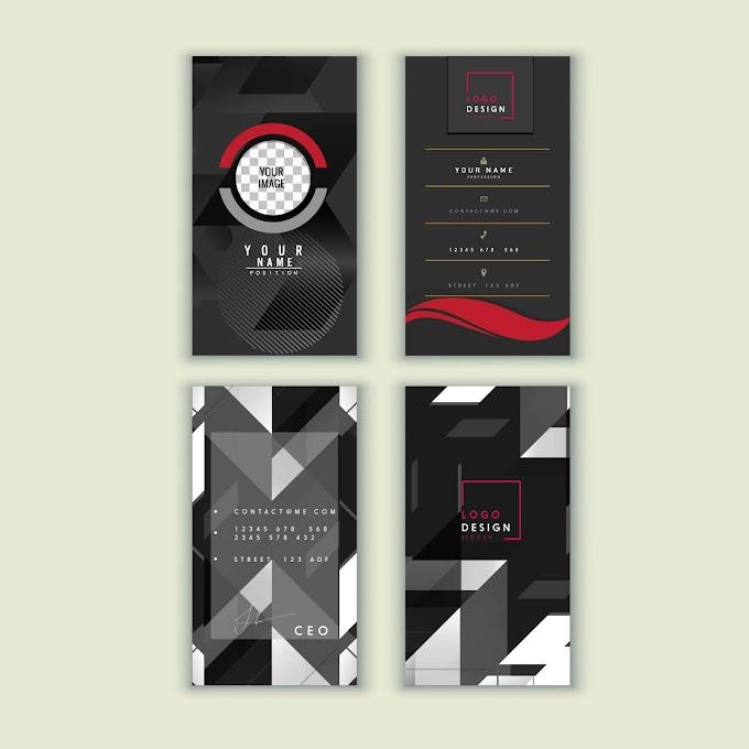 Business card templates elegant dark geometric decor Free vector