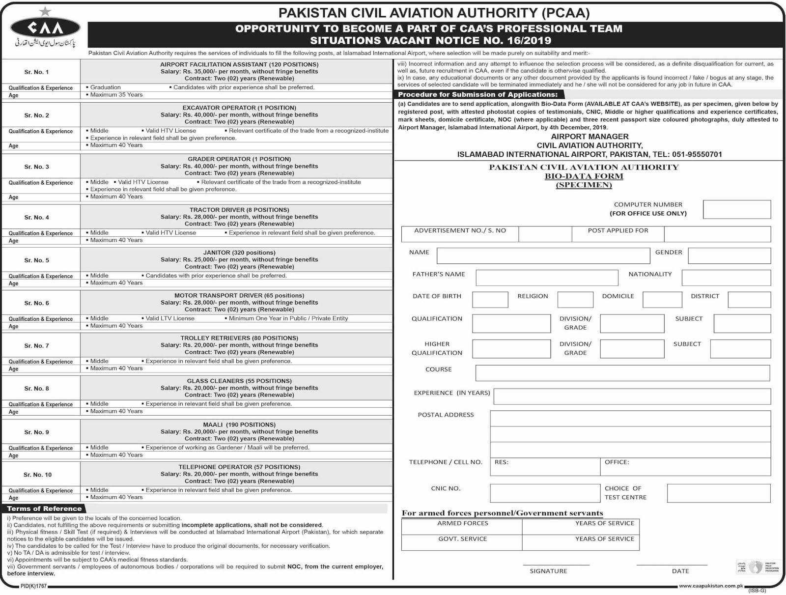 900+Vacancy in Pakistan Civil Aviation Authority PCAA Jobs 2019