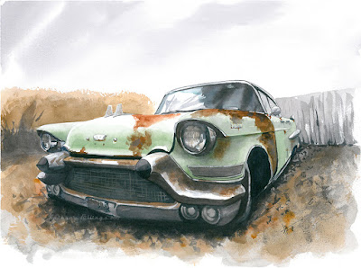 Backyard DeVille - watercolor