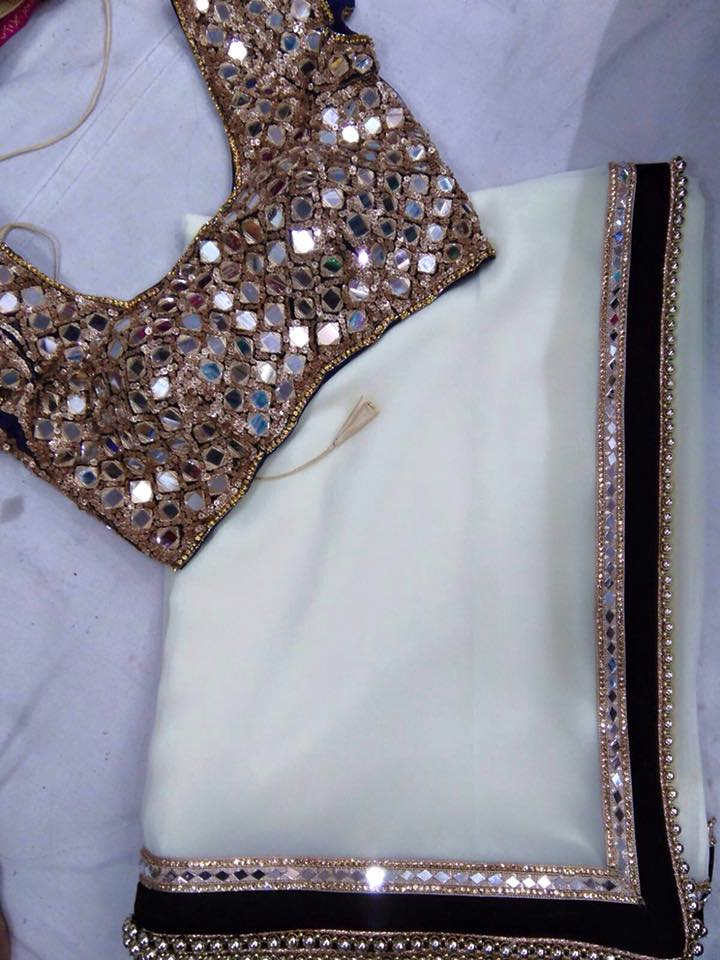 Saree blouse designs 5 unique must have saree blouse styles for Mirror work saree