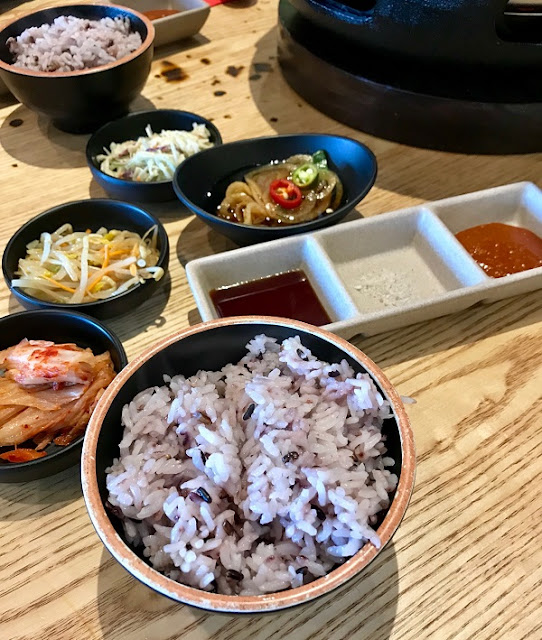 BBQ-K, Doncaster East, banchan and purple rice