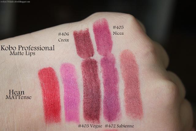 Hean Mattense: #400 Royal Red, #401 Viva Violet, #402 Sabienne, #403 Vogue, #404 Dolce, #405 Kylie, #406 Juliette.