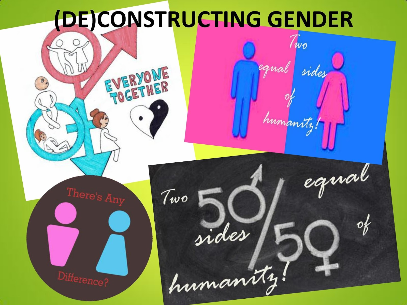 the constructions of gender Social construction of gender social construction of gender is normally discussed in contrast to biological facts of differences between men and women for example men are naturally more aggressive and women relatively more passive because of hormones like testosterone, and women are more interested in clothing on average because in the human.