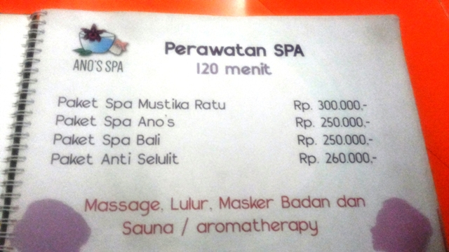 Daftar Harga Perawatan Spa - Ano's Spa