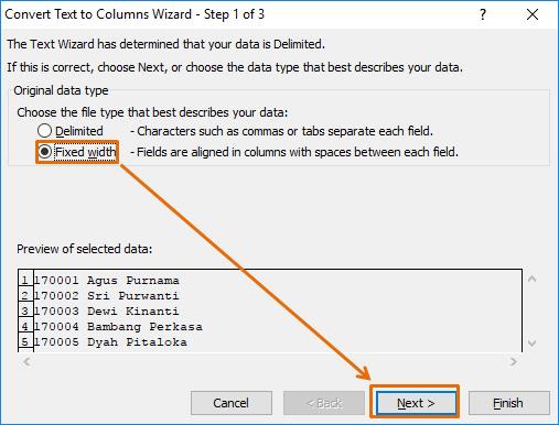 Langkah 1 Text To Columns Fixed Width