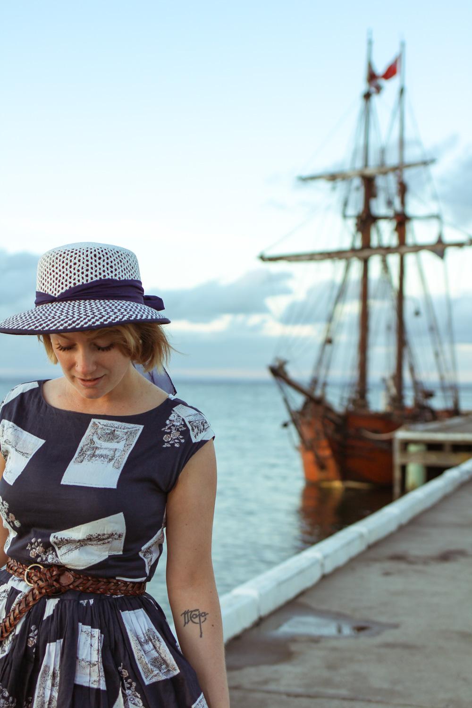 @findingfemme wears Laura Ashley postcards dress at the Portarlington beach.