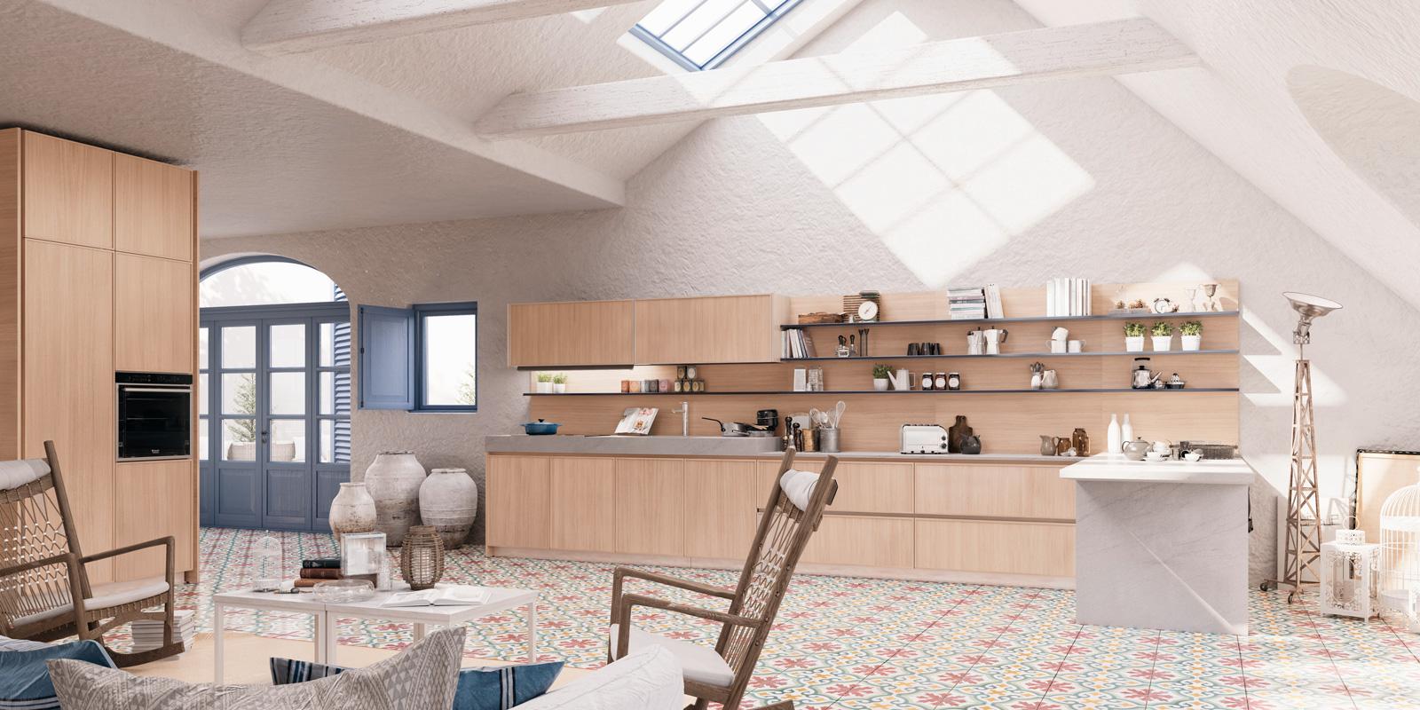 Cucine Scavolini In Legno Massello : Terbuka dapur untuk loteng ruang di tamu