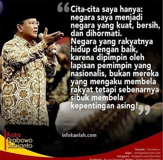 Inilah Cita Cita Prabowo Subianto Untuk Indonesia Lebih Baik