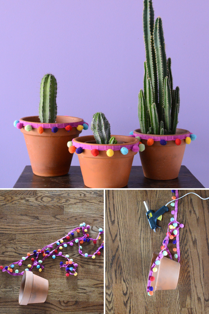 A Pom Poms Diy with Terra-cotta Pots-design addict mom