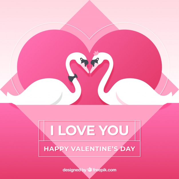 Valentine background with swans Free Vector