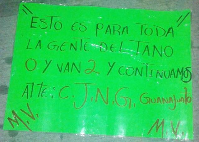 """En cartulina El CJNG deja advertencia """"0 y van 2"""" en Guanajuato y se adjudica ejecucion de 3"""