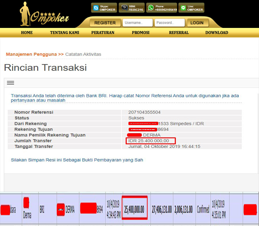 Selamat Kepada Member Setia Ompoker WD Rp 25.400.000