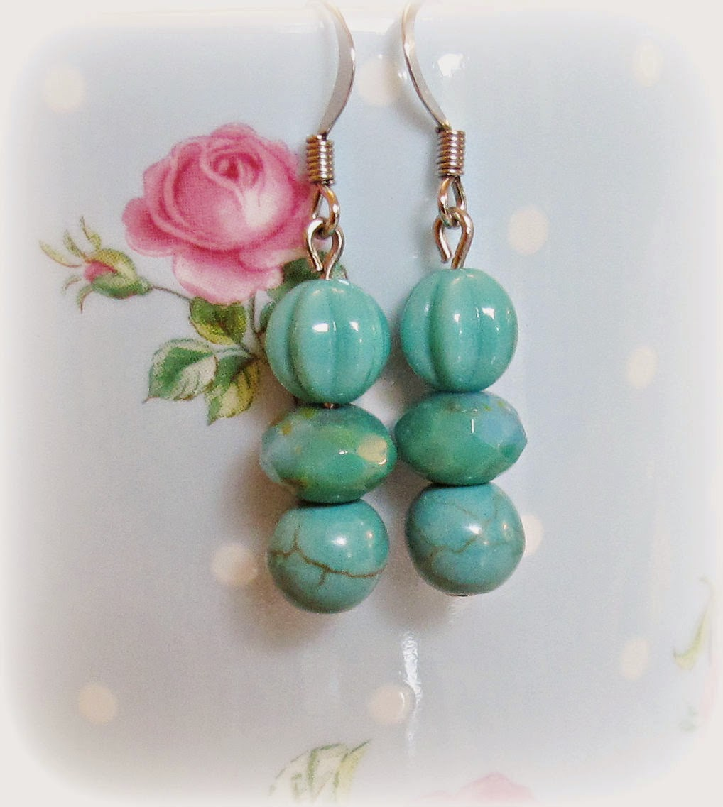 image turquoise blue earrings dangle glass beads jewellery two cheeky monkeys