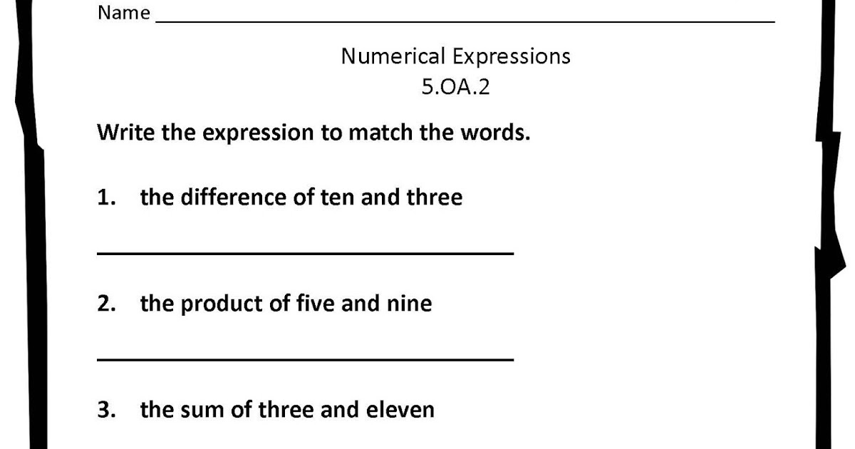 Classroom Freebies Numerical Expressions Worksheet – Numerical Expressions Worksheet