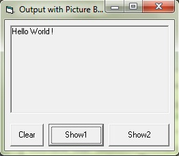 Showing text message in picture box