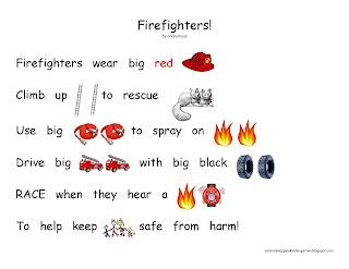 Color Me Happy In Kindergarten Firefighters Rebus Poem