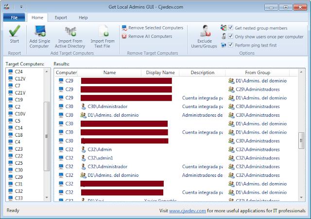 Vista herramienta: Get Local Admins GUI