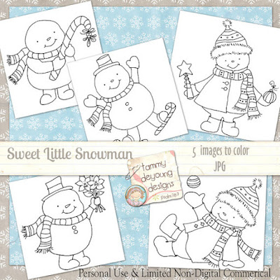 Snowman coloring mini pages