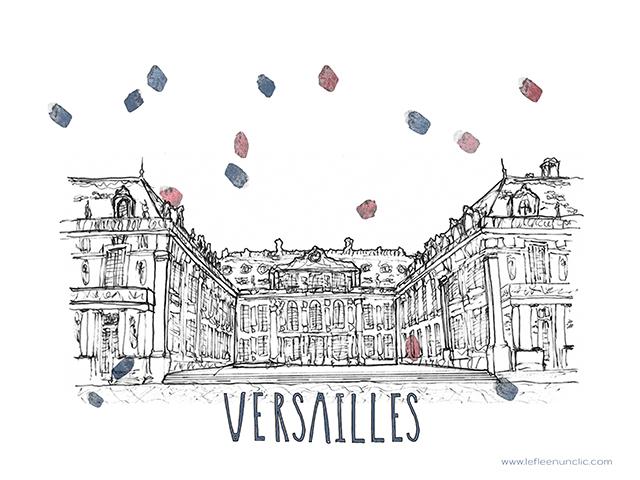 Versailles, le château de Versailles, Paris, France, affiche, FLE, le FLE en un 'clic'