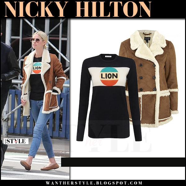 Nicky Hilton in brown shearling topshop jacket and black bella freud lion sweater what she wore april 23 2017
