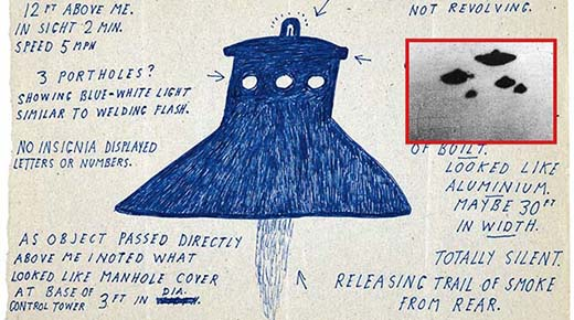 Dibujos de OVNIs desclasificados por el Ministerio de Defensa del Gobierno Británico