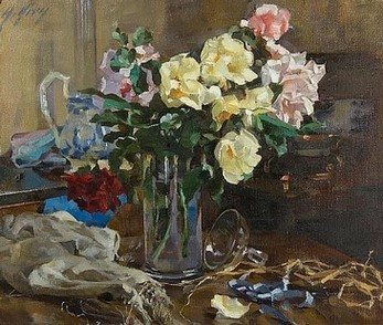 Still life of roses in a vase. Anna Airy