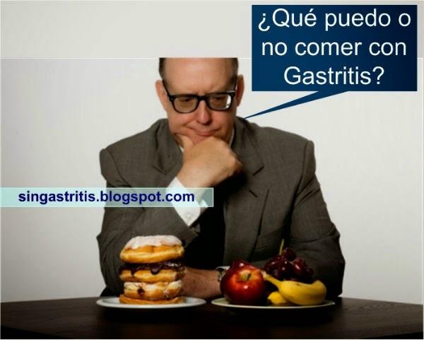 que puedo y no comer si tengo gastritis