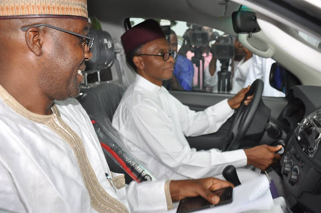 Governor Nasir El-Rufai test running one of the 8 Toyota Hilux vehicles