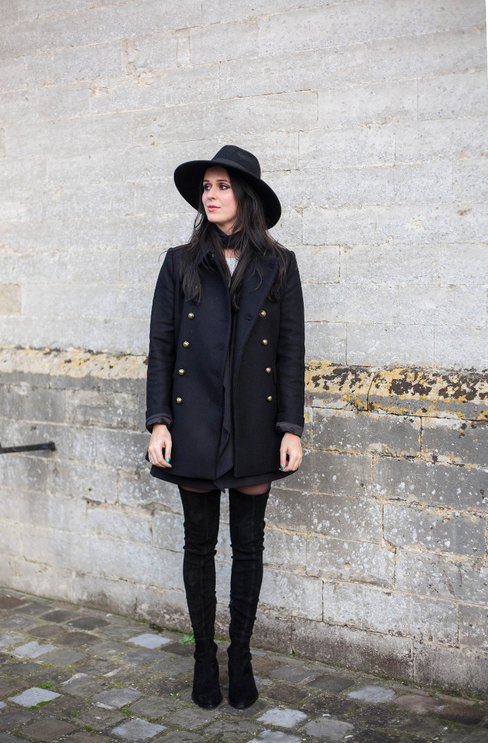 Outfit: wide brim hat, military coat, thigh high boots