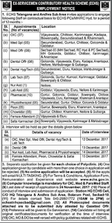 ECHS Pharmacist, Medical Officer Jobs Recruitment Notification 2017
