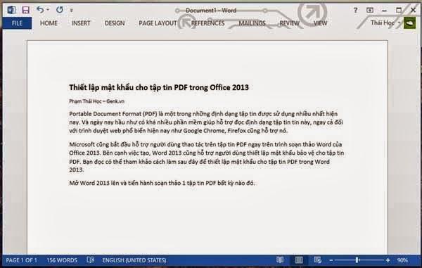 Cách cài đặt mật khẩu cho file PDF trong Office 2013