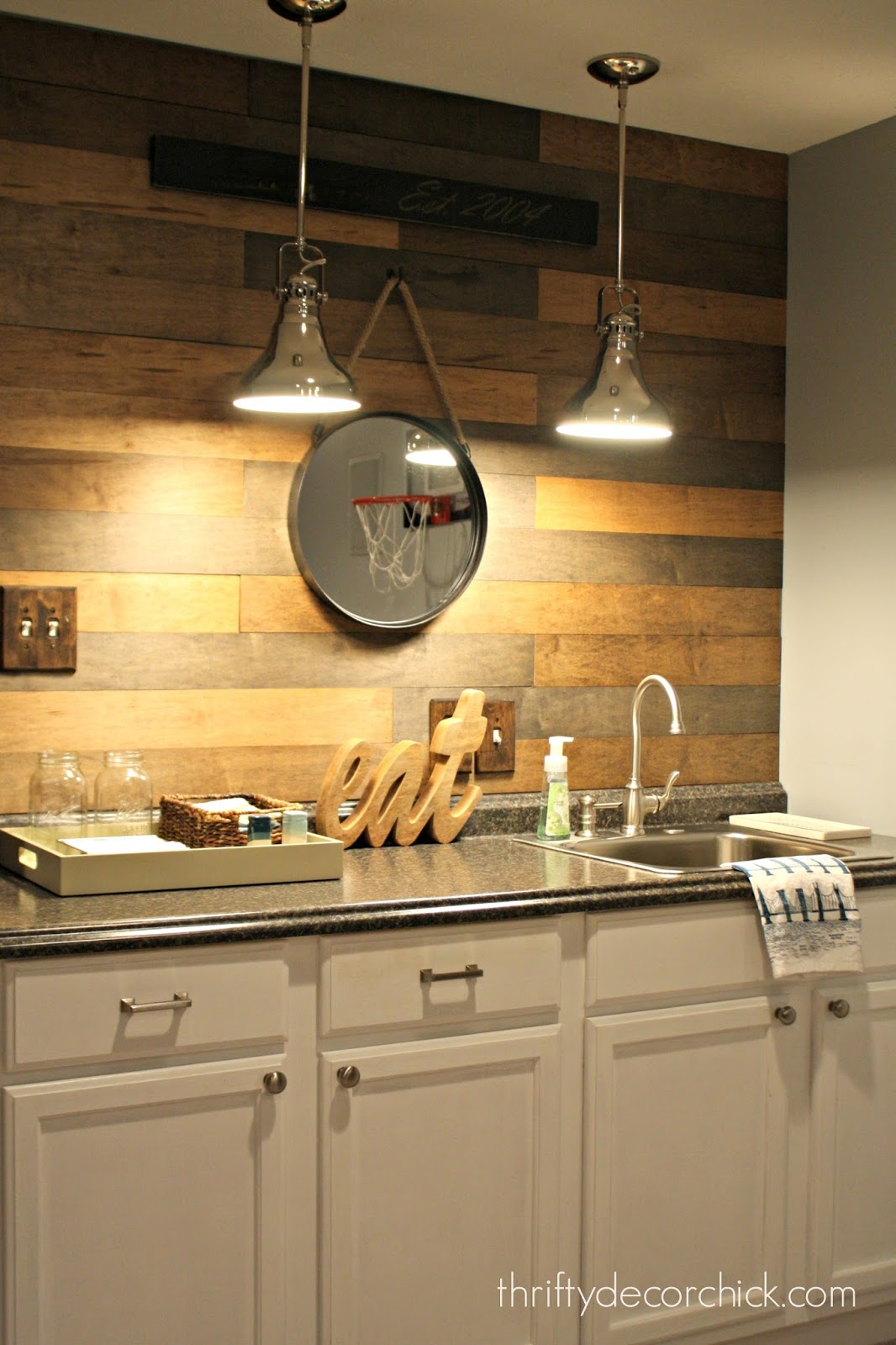 wood planked backsplash