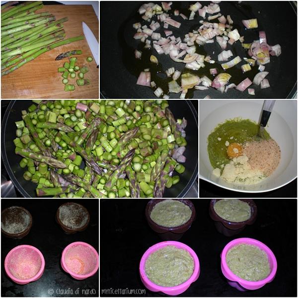 Tortino di asparagi con fonduta di parmigiano