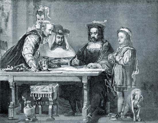 Cristóbal Colón (segundo desde la derecha)